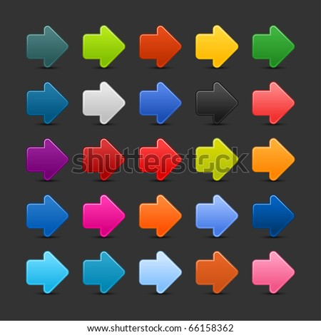 25 arrow sign web 2.0 icon. Colored button with shadow on gray background