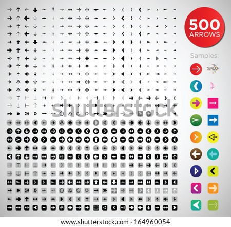 500 arrows. different shapes, weights, styles and icons.