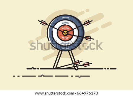 3 arrows hit the SUCCESS on target. Successful aiming to success bullseye. Business , Financial and Investment concept. MBE design. Vector illustrator.