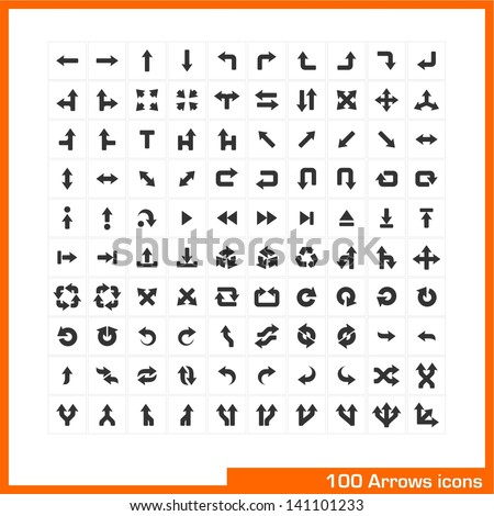 100 arrows icons set. Vector black pictograms for web, internet, computer, mobile apps, business presentations, navigation, transportation, interface design: direction, turn, left, right, move symbol