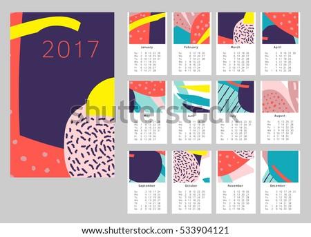 2017 art hand drawn calendar