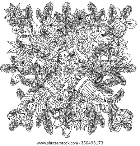 Stock Photo  Art mandala style christmas ornament with decorative items, Black and white . Zentangle patters.  The best for your design, textiles, posters, coloring book