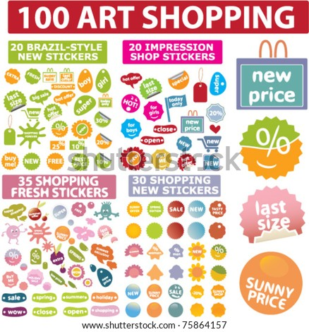 100 art shopping stickers & labels, vector