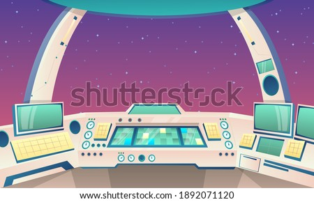 Сartoon background rocket inside. Spaceship cockpit interior with space. Background for cartoon and games. Rocket cockpit with control panel. Vector illustration Foto stock ©