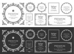 Assortment of antique frame materials and decorative materials for design