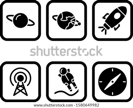 6 astronomy Icons For Personal And Commercial Use...6 astronomy Icons Sheet Isolated On White Background...