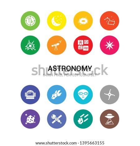 16 astronomy vector icons set included abduction, aerolite, aerospace, aerosphere, airscrew, alien, asteroid, astranaut helmet, astrology, astronaut, astronomy icons