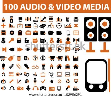 100 audio & media icons set. vector - stock vector