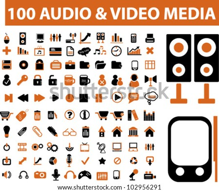100 audio & media icons set. vector