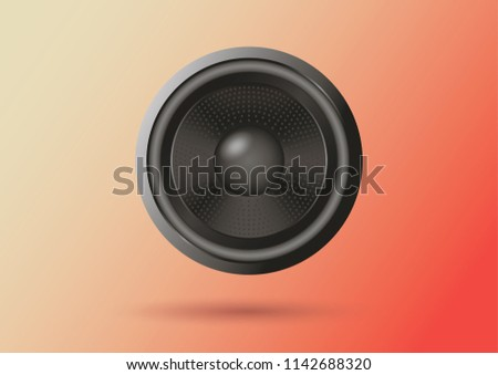 Audio speaker on a red background. Speaker in the vector.