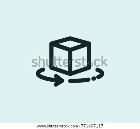 360 augmented reality icon line isolated on clean background. Cube rotate concept drawing 360 AR icon line in modern style. Vector illustration AR icon for your web site mobile logo app UI design.