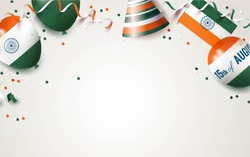 15 August.India independence day celebration background with balloons, flag and confetti. Festive frame flat lay. Vector illustration