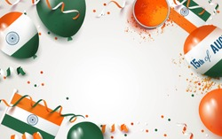 15 August.India independence day celebration background with balloons, flag and holi powder. Festive frame flat lay. Vector illustration