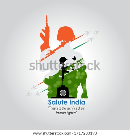 15 august. India independence day celebration background.with Indian Soldier in Indian tricolor of flag .Greeting card and poster Design. Vector illustration - Vector
