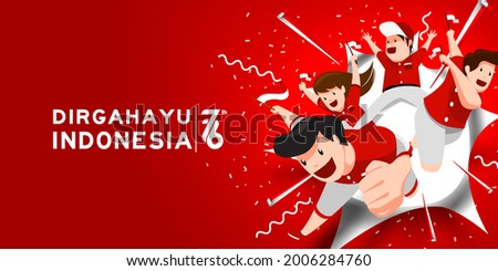 17 August. Indonesia Happy Independence Day greeting card with family, kids joy together for 76 years indonesia freedom