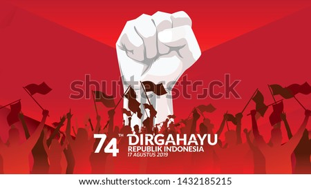 17 August. Indonesia Happy Independence Day greeting card with hands clenched, Spirit of freedom symbol. Use for banner, and background . - Vector