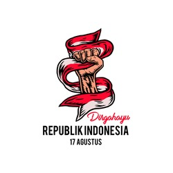 17 August, Indonesia Happy Independence Day, Spirit of freedom symbol, hand drawn line style with digital color, vector illustration