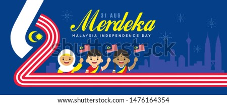 31 August - Malaysia Independence Day banner design. Cartoon Malaysia citizen holding flag with number 62 and city skyline in flat vector illustration. (Merdeka means independent or free)
