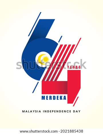 31 August - Malaysia Independence Day. Modern number 64 abstract art refer to Malaysia flag colour. 64th years symbol or logo design. Merdeka means independent or freedom.