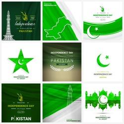 14 August. Pakistan Independence Day. 9 background set. Celebration Card. Vector Illustration. creative wallpaper set