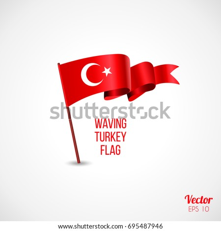30 August. Turkey victory day Zafer Bayrami greeting card. Turkish waving flags with firework and confetti, ballons isolated on white background. Patriotic Symbolic background Vector illustration