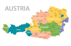 Austria vintage map. High detailed vector map with pastel colors, cities and geographical borders