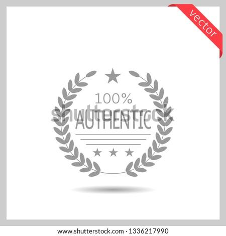 100% Authentic brand icon. Laurel wreath label badge isolated, Vector illustration