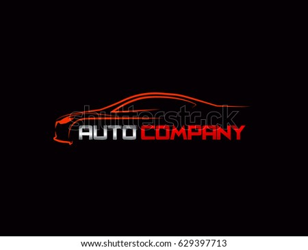 Auto car Logo Template vector icon Silver and red colors