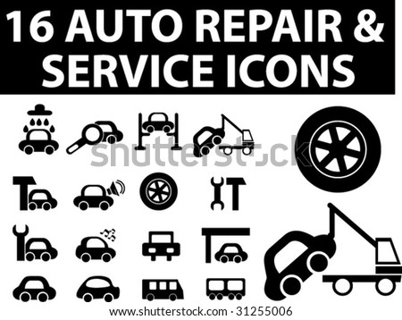 Auto Repair  Service on 16 Auto Repair   Service Icons  Vector   31255006   Shutterstock