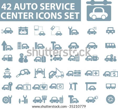 42 auto service center icons. vector