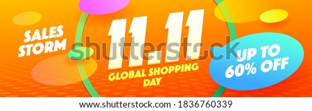 11.11 Autumn Sale Gift Promotion Coupon banner background. Global Shopping Day Voucher Design. World shopping day sale 11.11 discount vector banner