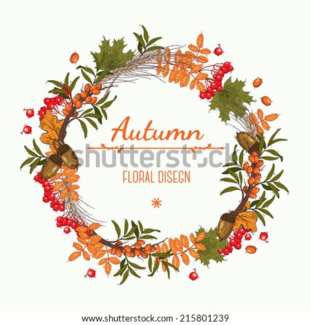 Autumn wreath of mountain ash buckthorn and acorns can be used as greeting card invitation card for wedding birthday and other holiday Vector illustration