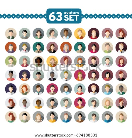 63 Avatars, women, and men heads in flat style!!! Business style people. Vector illustration