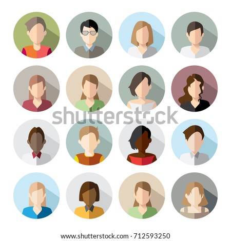 16 Avatars, women, and men heads in flat style. Vector illustration in the circle. Business style people.