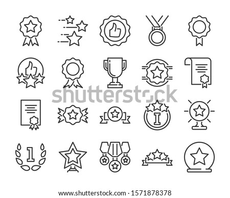 20 Awards icons. Awards and Achievements line icon set. Vector illustration.