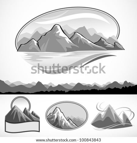 B/W MOUNTAIN AND HILLS LABELS