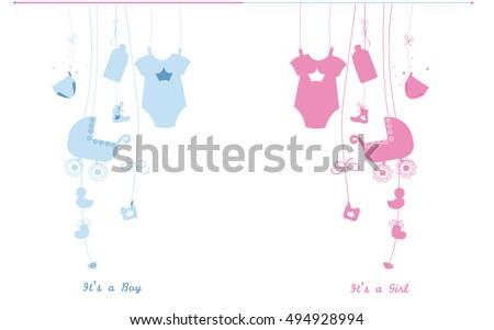Baby newborn hanging baby boy baby girl symbols illustration. Its a boy. Its a girl