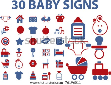 30 baby signs & icons, vector illustrations