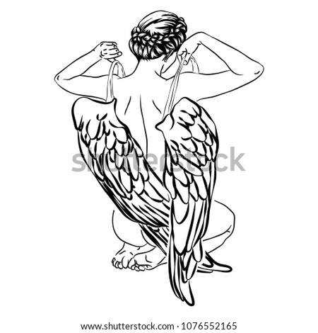 back of girl with wings  angel