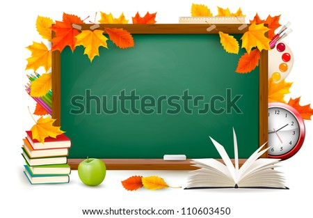 Back to school. Green desk with school supplies and autumn leaves. Vector.
