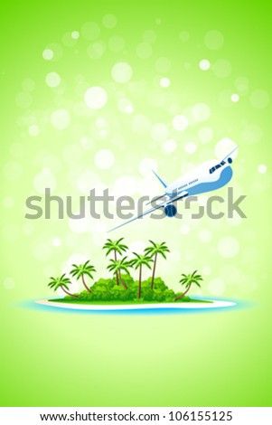 Background wit Tropical Island and Aircraft