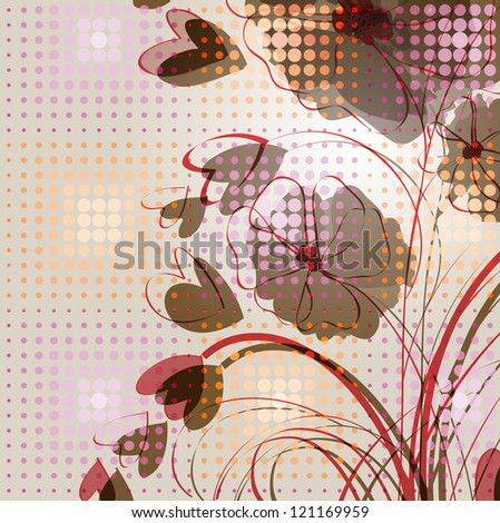 background with an image of abstract flowers with hearts