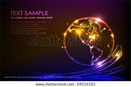 "background with globe ""made of light"" collection - stock vector"