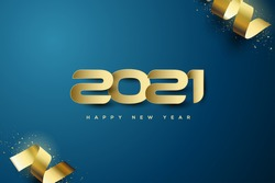 2021 Background with illustrations of gold numbers with gold colored 3d ribbon.