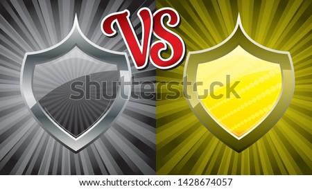 16:9 background with two team steel shields for versus fight battle, vector illustration, Versus vs background. Guild defender signs for Medieval games.