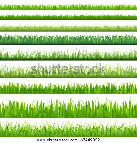 9 Backgrounds Of Green Grass, Isolated On White Background, Vector Illustration - stock vector