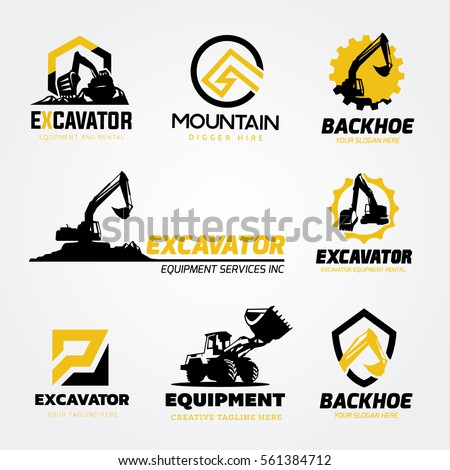 Backhoe Excavator logo Set.