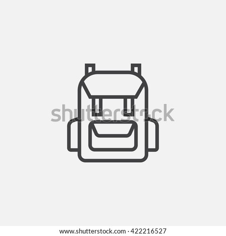 backpack line icon, outline vector logo illustration, linear pictogram isolated on white
