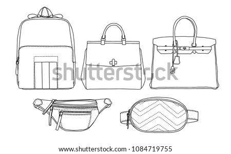 Bag and pouch set, icon, sketch