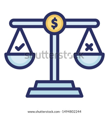 Balance scale, financial scale Vector Icon